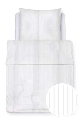 """Clinotest Bettwäsche """"6/24 Streifen"""", Set besteht aus einem Bettbezug 135x200 cm und einem Kissenbezug 80x80 cm,, Kochfest, Objektqualität (weiß)"""