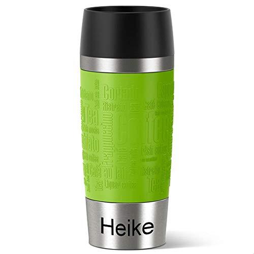Emsa Isolierbecher MIT Gravur (z.B. Namen) 360ml TRAVEL Mug Limette grün mit persönlicher Rundgravur, Travelmug Kaffee & Tee Thermo to-go-Becher mit Quick Press Verschluss 100% auslaufsicher
