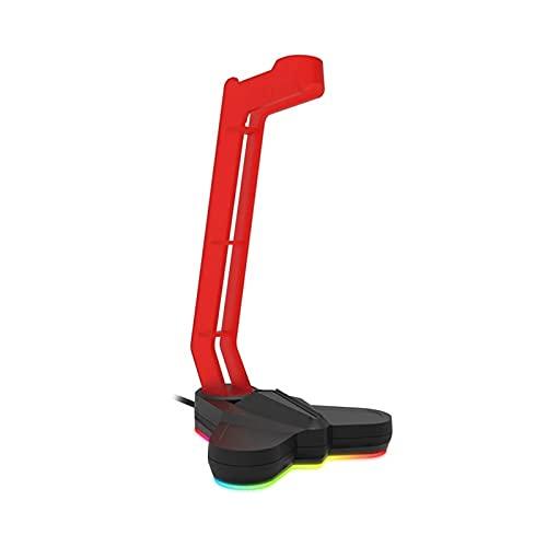 Feixunfan Soporte Auriculares RGB Light-emiting Auriculares Soporte Auriculares Antideslizantes Hook Pantalla para Jugador de Escritorio (Color : Red, Size : One Size)