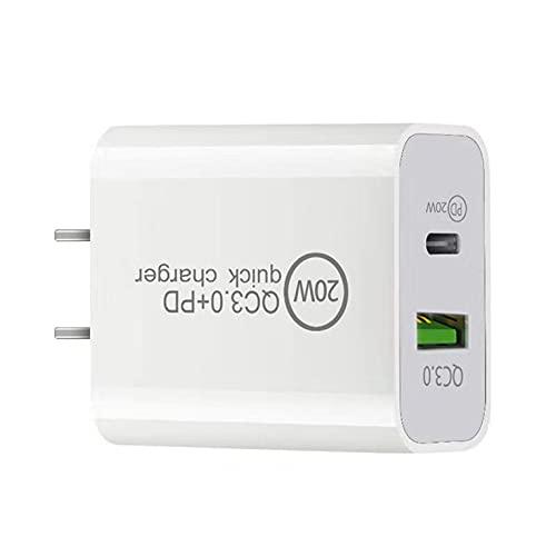 QiKun-Home Enchufe de Carga rápida para Apple PD2.0 + QC3.0 Teléfono móvil Carga rápida USB-A + Tipo-C Adaptador de Carga de Doble Puerto para iPhone 12 Blanco 48x42.5x27.5mm