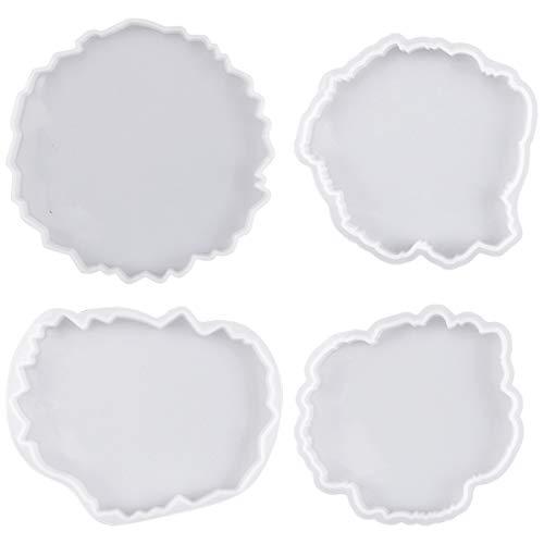 4 Stück Silikonformen Epoxidharz Set Resin Silikonform Resin Mold Gießformen,Silikonform Untersetzer, DIY Set Glasklar Formen für Epoxidharz,Kunstharz Gießen,Resin Art