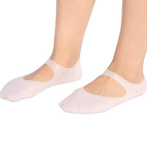 Brrnoo Calcetines Hidratantes,1 Par De Calcetines De Silicona Protector Anti-Grietas para Pies Calcetines De PrevencióN De Herramientas para El Cuidado De Los Pies(M-Blanco)
