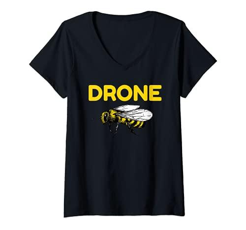 Mujer Drone Abejas Piloto Quadcopter RC Apicultura Miel Apicultor Camiseta Cuello V
