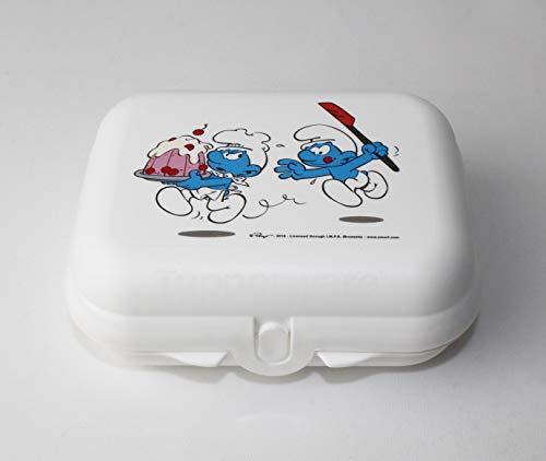 Tupperware To Go Twin - Fiambrera (tamaño pequeño, 2 unidades), diseño de pitufos, color blanco