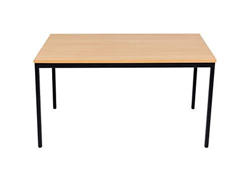 furni24 Schreibtisch Homeoffice Seminartisch 140 cm x 70 cm x 75 cm schwarz/buche Verschiedene Größen schöner Stabiler PC-Tisch mit viel...