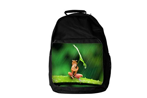 Marvellous Frog Sitting On Stick Holding Leaf As Umbrella HD Digital Rain Background Affect Animal Lovers Backpack Fashion Laptop School Business Travel Unisex for Men & Women