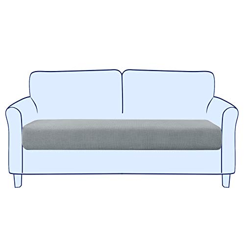 subrtex Sofa Seat Cushion Covers Stretch Polyester Fabric Seat Cushion Protector (2 Seaters, Light Grey)