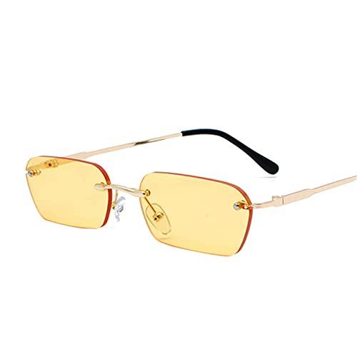 UKKD Gafas De Sol Gafas De Sol Sin Montura De Moda Mujeres Metal Vintage Vintage Lente Transparente Gafas De Sol para Las Mujeres Rectángulo Uv400-C2