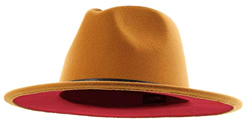 The Bowery - Red Bottom Flat Brim Felt Fedora (Caramel Brown X Red, Large)