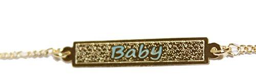Diamantados of Florida Pulsera bañada en Oro de 18 Quilates con diseño de Etiqueta de identificación de bebé, Color Azul – Pulsera de Encanto para niña – Enchape de Oro Pulso