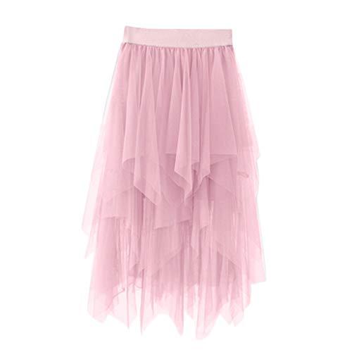 Xmiral Damen Tüll Tutu Rock Mittlere Länge Elastische Taille Unregelmäßig Petticoat Mädchen Chiffon Sommer Unterrock(a Rosa,One Size)