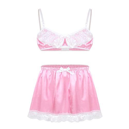 iixpin Herren Sissy Dessous-Set Spitze BH mit Mini Rock Erotik Bikini Set Männer Sissy Unterwäsche Pink Schlafanzug Partykleidung Clubwear Rosa XL