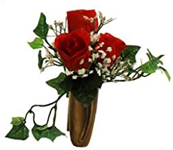 NICHE RED ROSE & BABY'S BREATH & IVY for NICHE and Grave-site Presentation in Remembrance of Loved Ones NO VASE