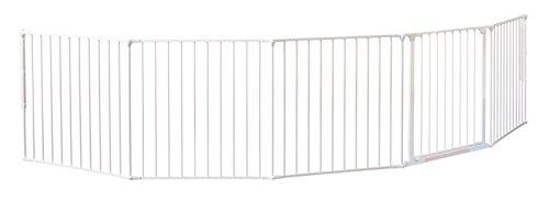 Baby Dan Kaminschutzgitter/Raumteiler Flex XXL 90 - 350 cm, weiß - Hergestellt in Dänemark + TÜV/GS geprüft