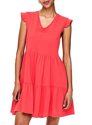ONLY Damen ONLMAY Life Cap Sleeves Frill Dress JRS Kleid, Cayenne, L