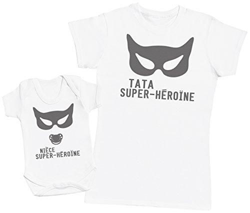 Zarlivia Clothing Nièce Super-Héroïne - Un Article – Partie d'Un Ensemble - Femme T-Shirt - Blanc - M