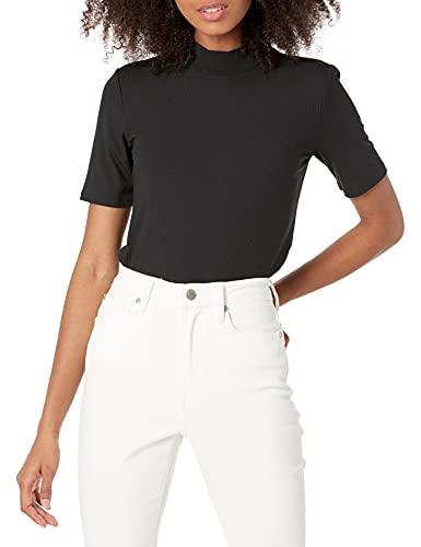 The Drop Joanna Camiseta de Manga Corta con Cuello Cerrado Y Tejido Acanalado T-Shirt Mujer