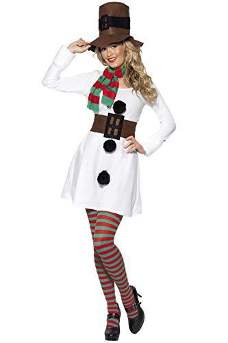 Smiffys Disfraz de Muñeca de nieve, Blanco, con vestido, sombrero, bufanda y cinturón , Modelos/colores Surtidos, 1 Unidad