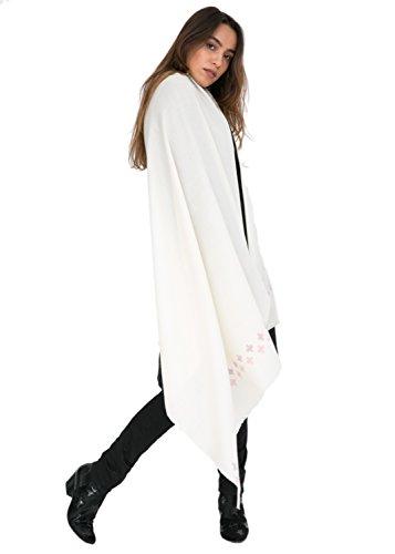 likemary Damen Schal Schultertuch aus 100% Merino Wolle - Poncho Stola XXL Tuch & Umschlagtuch - für Frauen - Kreuzt Motiv cremefarben
