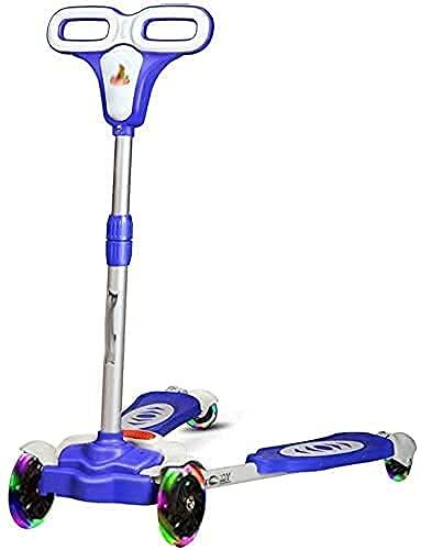 Scooter para niños Kick Scooter Patinete de Pedal Ajustable en Altura para niños con 4 Ruedas para niños de 3 a 12 niños pequeños y niñas para niños (Color: Azul)