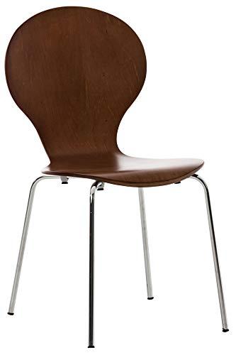 Silla De Comedor Apilable Diego I Silla De Conferencia con Asiento De Madera I Silla De Cocina con Base De Metal I Color:, Color:marrón