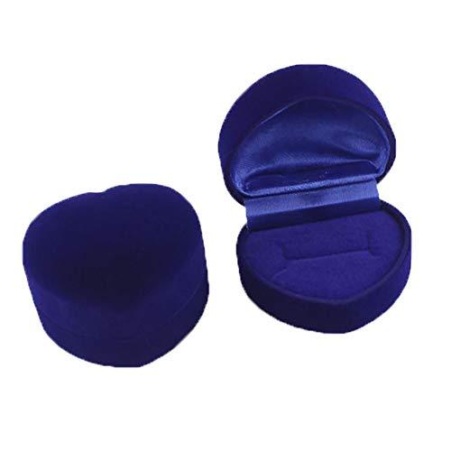 Boîte à bagues Kentop en forme de cœur - En velours - Pour bagues de mariage, Saint-Valentin, fiançailles - Bleu
