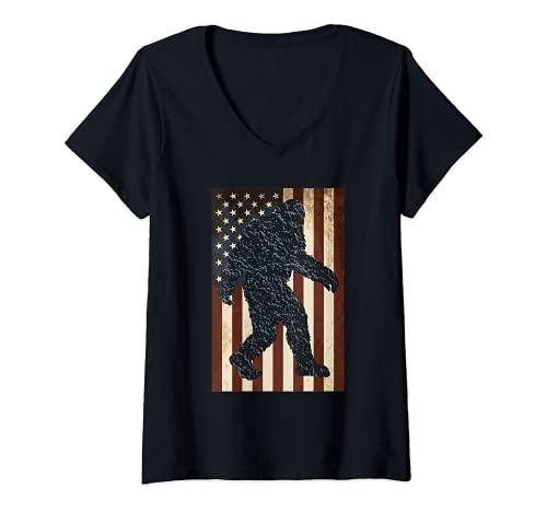 Mujer Vintage Bandera Americana Bigfoot Camiseta Cuello V