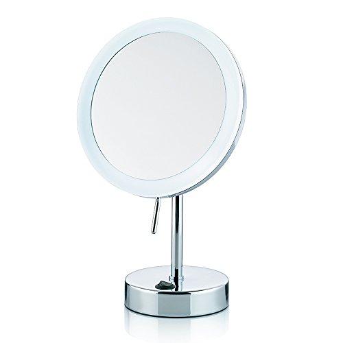 Kela 20628 Standspiegel, Mit LED-Beleuchtung, 1-/5-fach Vergrößerung, Ø 12cm, Metall, Sabina, Verchromt