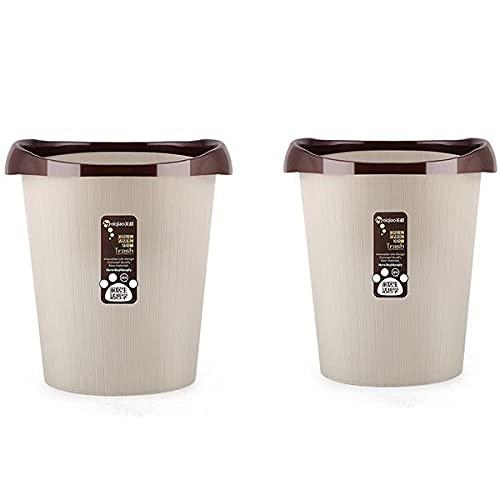 Parshall Cestino semplice in plastica con anello di pressione, per riporre i rifiuti, organizer per la casa, cucina, soggiorno, senza coperchio, 2 pezzi, colore: Beige-L