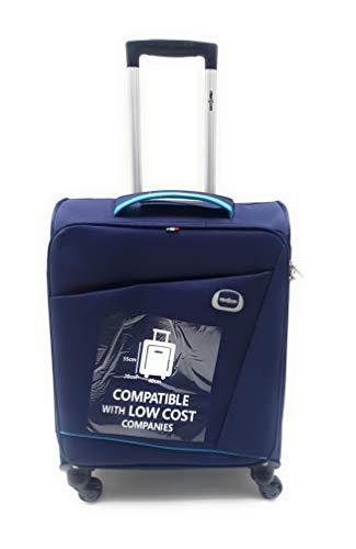 Trolley Clacson cm. 55 x 40 x 20 Bagaglio a mano 4 Ruote Semirigido Impermeabile Idoneo Low Cost Ryanair (Blu)