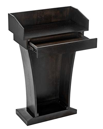 Adir Podium Stand Wood - Pulpits for Churches, Reception Desk Lectern with Spacious Drawer for Hotels, Seminars, Weddings, and Classrooms (Black)