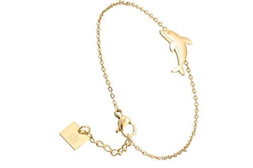 Zag Bijoux - Pulsera de cadena delfín, dorada y amarilla