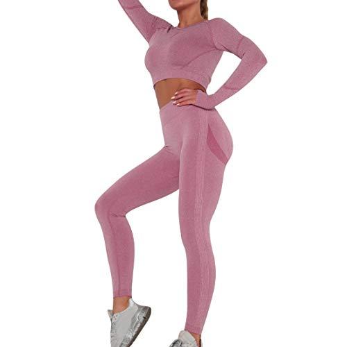 laamei Damen Sportanzug Trainingsanzug Jogginganzug 2 Teilig Lang Bauchfrei Figurformende Leggings Sporthose Yoga Outfit Freizeitanzug Bekleidungssets Sportswear(Weinrot,M)