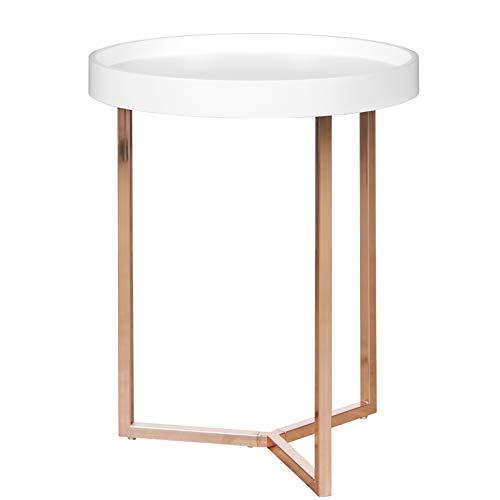 Wohnling–Mesa Auxiliar, Redonda, diámetro de 40cm, Color Blanco