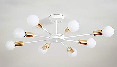 Nordic Jugendstil Led Modern Industrial Design plafondlampen kroonluchter 8 Light E27 lampfitting, voor slaapkamer woonkamer restaurant hal kantoor eettafel met eetkamer, diameter 75 cm x hoogte 18 cm