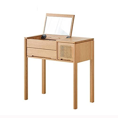 OMIDM Directry Tavolino Semplice in Legno massello con 2 cassetti e Specchio per Camera da Letto Tabella di spogliatoio di Trucco