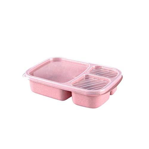 Nfudishpu Lunch Box , Pique-Nique Blé Paille Bento 3 Compartiments Repas , Lunch Container Food Prep Cuisine Vaisselle Portable Food Box (Couleur: Bleu) (Couleur: Rose)