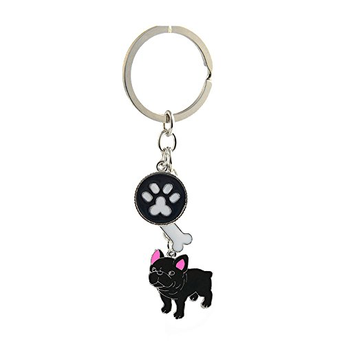 Key-ring Keychain,Cute Metal Small Dog Puppy Keychain Keyring Keyfob Car Bag Charm Dog Tag Chains Birthday (Black French Bulldog)