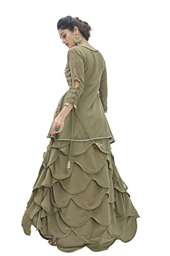 Miss Ethnik Women's Green Faux Georgette Semi Stitched Top With Stitched Faux Georgette Bottom Embroidered Flared Top Dress Material (Lehenga) (ME-R1-1010)
