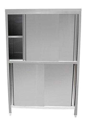 Beeketal 'BHV180' Gastro Küchenschrank mit 2 Schiebetüren, 2 stöckiger Arbeitsschrank aus Edelstahl mit justierbaren Füßen und verstärkten Regalböden, Maße: Breite 1180 mm, Tiefe 500 mm, Höhe 1800 mm