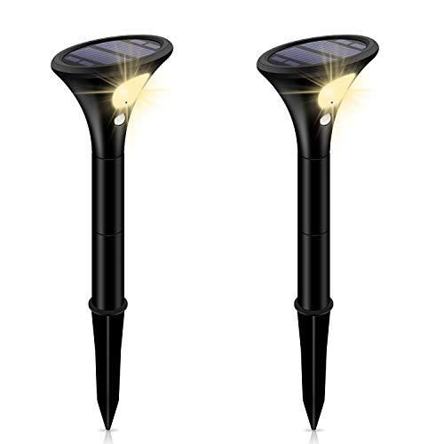 【高輝度最新版】Leolee ガーデンライト 屋外 ソーラーライト スポットライト 二つモード 自動点灯 太陽光パネル充電 IP65防水 LEDライト モーションセンサー付き 取付簡単 高さ調整可能 防犯対策 ナイトライト (電球色2本入り)