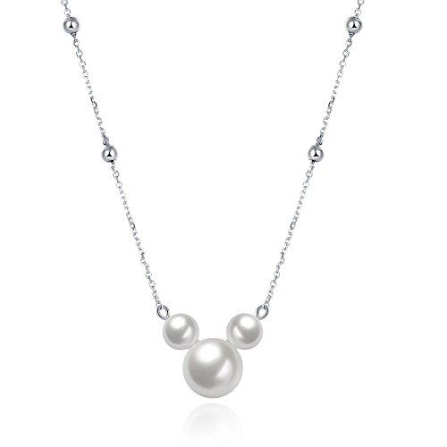 Shina-Collares de Plata 925 colgante con tres perlas en forma de Mickey animado y precioso regalo perfecto para novias y mujeres