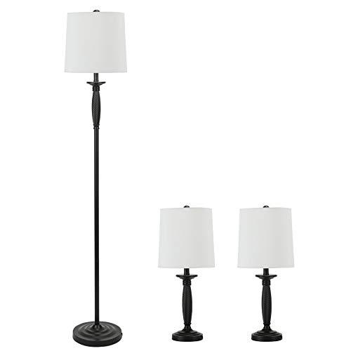 CO-Z 3 Lamp Set, Classic Metal Base Floor Lamp + Table Lamps for Farmhouse Living Room Bedroom in Matt Black Finish, ETL Certificate (59 & 21 Inches in Height)