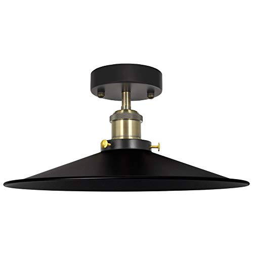 Vintage Deckenlampe Deckenleuchte Lampenschirm Flur Schwarz Retro Industrie für Esszimmer Wohnzimmer Durchmesser 30CM und Lampenfassung E27, Glühbirne nicht Enthalten, 1er Pack von Enuotek