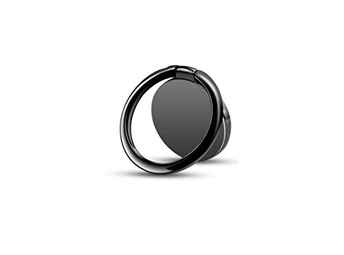 Phone Ring Holder 360° Rotation Metal Finger Kickstand Cell Phone Stand & Grip for Magnetic Car Mount Compatible with All Smartphones - Black
