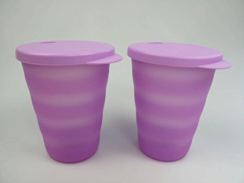 TUPPERWARE Junge Welle Trinkhalmbecher 330 ml lila (2) Trinkhalm Becher