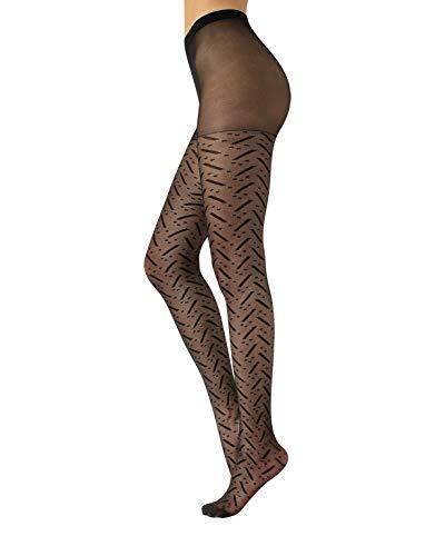 CALZITALY Collants Mode Femme Voile avec Rayures   Collant Resille Fantaisie Moderne Géométrique   Noir   S/M, L/XL   20 DEN   Made in Italy (S/M, Noir)