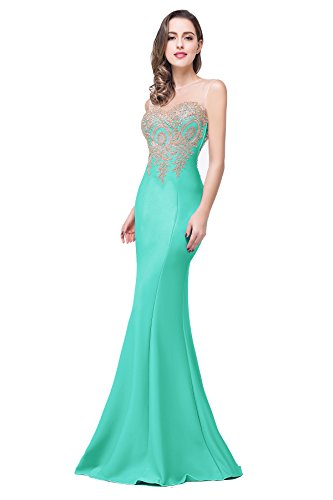 Lace Appliques Mermaid Evening Prom Dress Long Formal Dress, 8, Peacock Pink