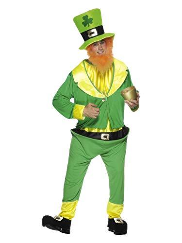 Halloweenia - Herren Männer Heinzelmännchen Kostüm mit Jumpsuit, Jacke, Hut und fuchsrotem Bart, perfekt für Karneval und Halloween, One Size, Grün