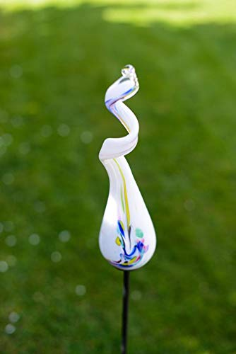 Gardecor Rosenkugel auf Stab – Handgemachte Garten Dekoration für Ihren Garten, hohe Qualität. Alle unsere Deko Garten Kugeln sind Winterfest und aus höchster Qualität (Weiß)